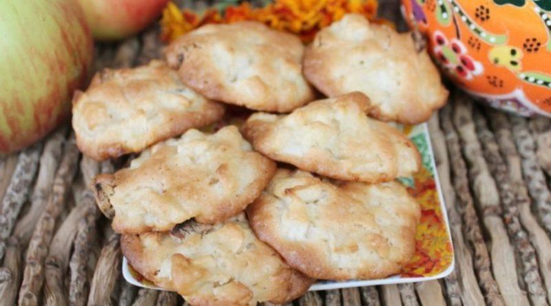 Простое печенье с яблоками и курагой