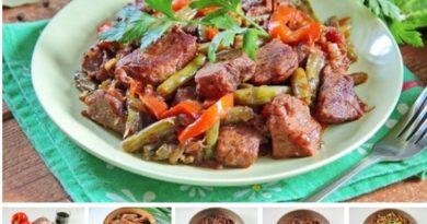 Жаркое из свинины и зеленой фасоли