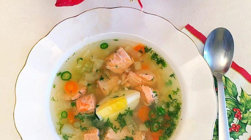 Суп с семгой и сельдереем