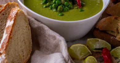 Суп-пюре из замороженного зеленого горошка