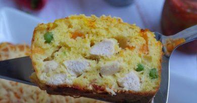 Сырный кекс с тыквой и куриным филе