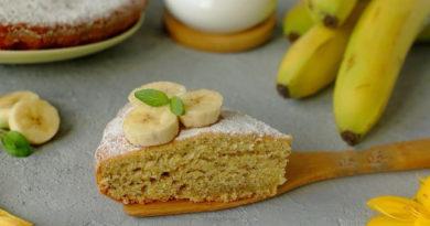 Йогуртовый пирог с бананами