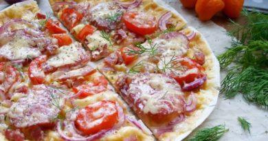 Пицца на лаваше в сковороде