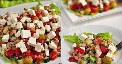 Салат с тунцом, оливками и фетой