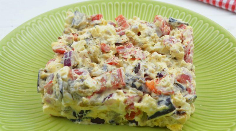 Салат с жареными баклажанами и сыром
