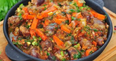 Тушеные сердечки с овощами