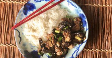 Курица с баклажанами в китайском соусе
