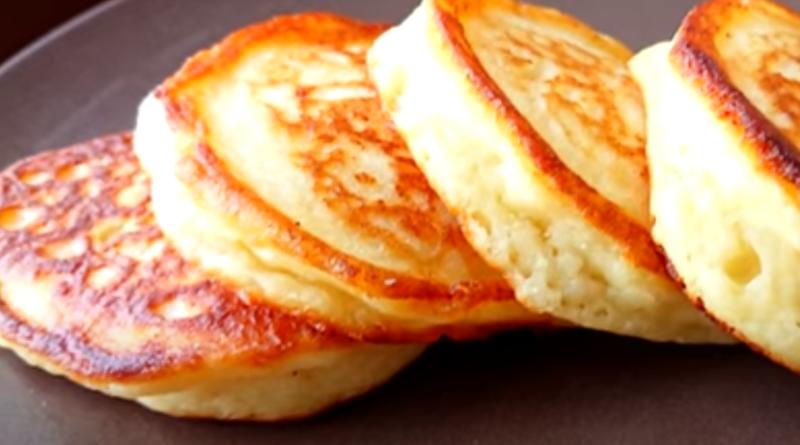 Пышные творожные оладьи к завтраку