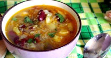 Вкусный обед — щи с фасолью и тыквой