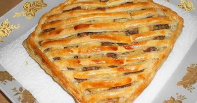 Отменный слоеный пирог с мясом