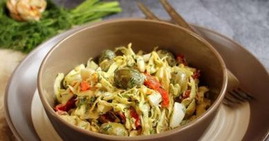 Обалденный капустный салатик с оливками и маринованным перцем
