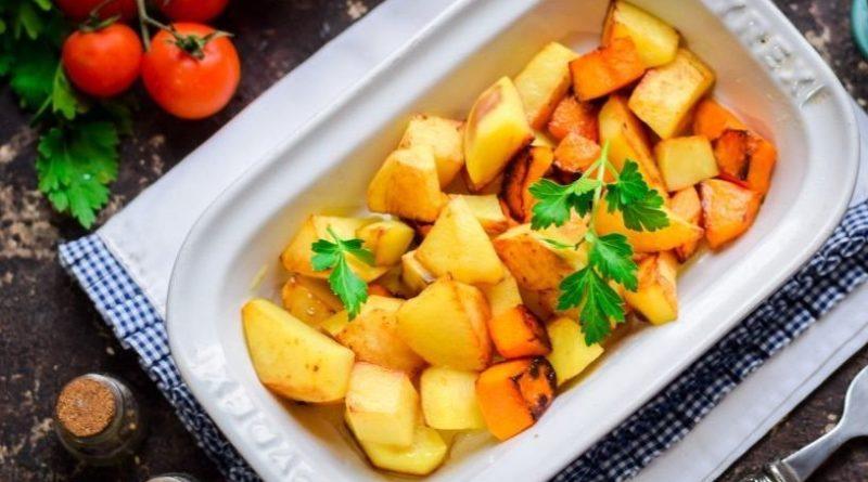 Картофель с тыквой в духовке