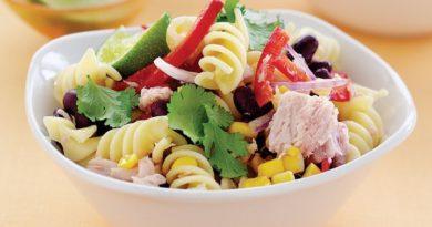 Диетическое блюдо-салат с макаронами и тунцом