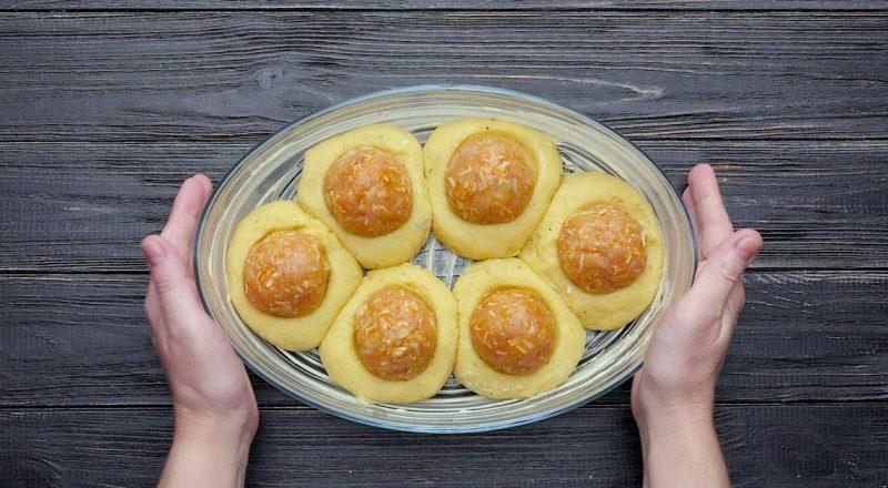 Картофельные гнезда с тефтелями