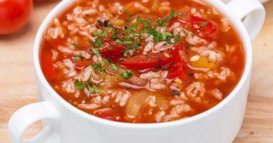 Суп томатный польский с рисом и огурцом