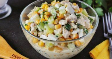 Салат из свежего огурца, кукурузы и куриного филе