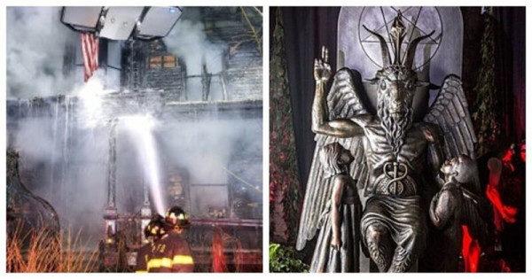 В США сожгли церковь Сатаны