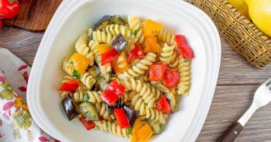 Паста с печеными овощами