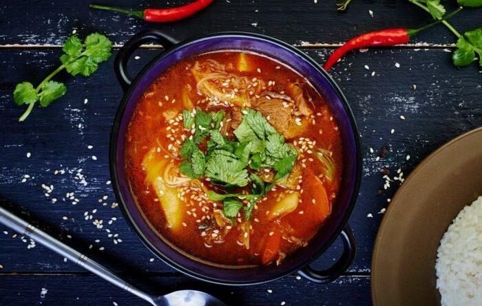 Корейский суп со свининой