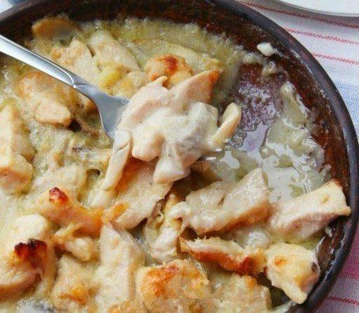 Куриная грудка в соусе с грибами