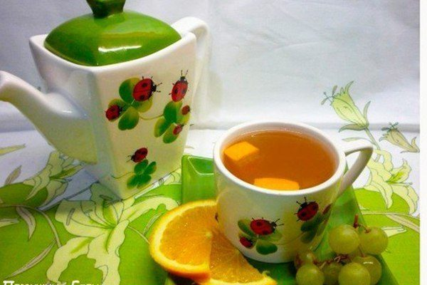 Быстрый компот из винограда, апельсина и зелёного чая
