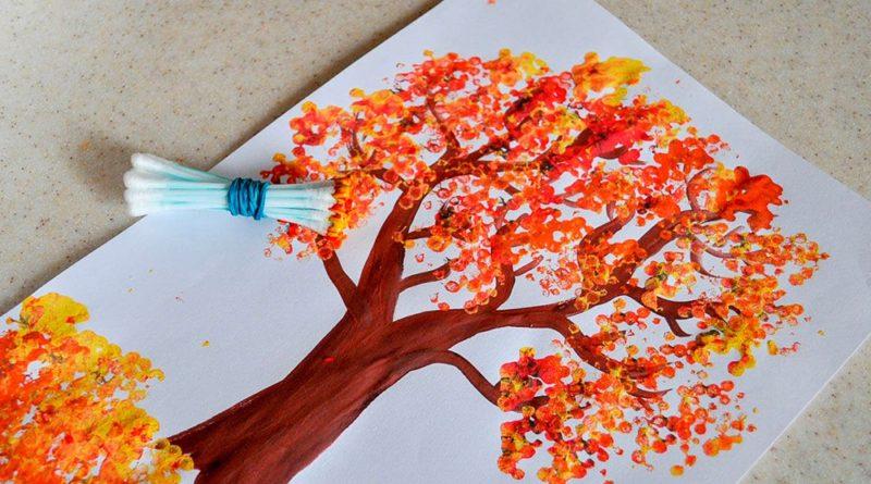 Рисуем ватными палочками