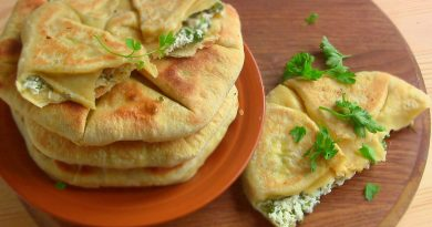 Лепёшки к шашлыку с зеленью и творогом
