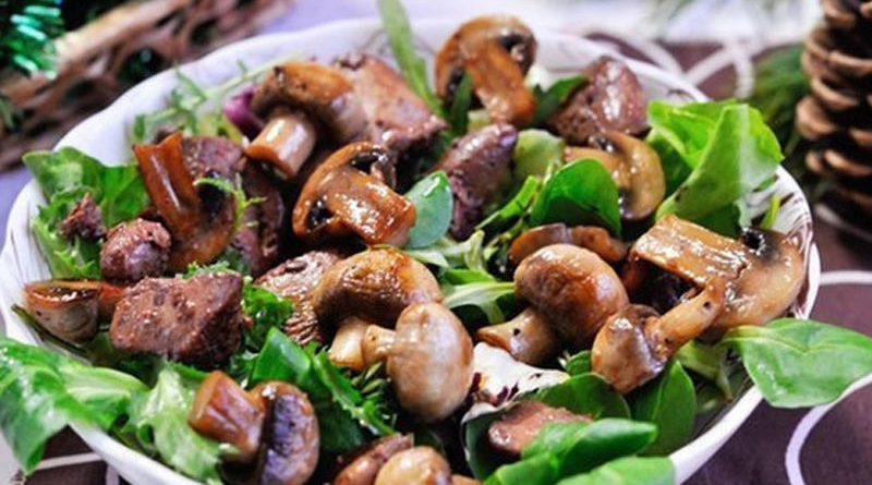 Салат из печени и грибов «Прованс»