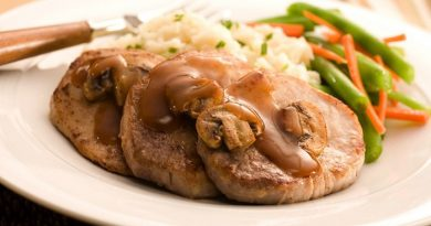 Свиная вырезка в сливочно-грибном соусе