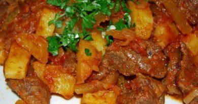 Мясо тушеное с овощами по-татарски