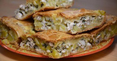 Греческий пирог «Кубите» с курицей и картошкой