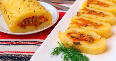 Картофельный рулет с овощами