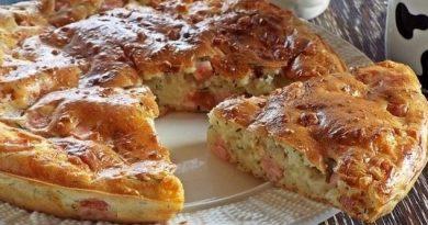 Аппетитный пирог с ветчиной