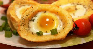 Картофель, запеченный с яйцом
