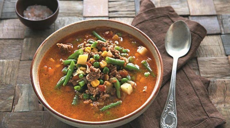 Быстрый и вкусный овощной суп с фаршем