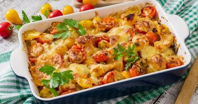 Картофельная запеканка с грибами и помидорами