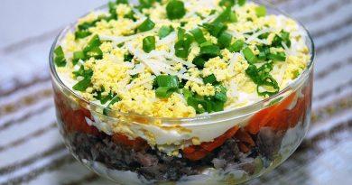 Простой рыбный салат из сардины