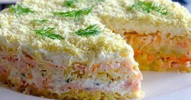 """Праздничный салат """"Мимоза"""" с горбушей"""