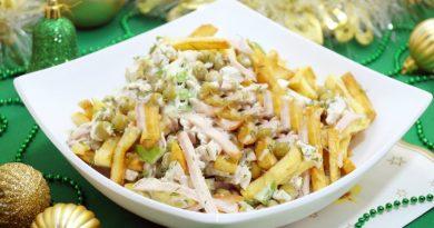 Салат с картофелем фри «Новогодние мотивы»