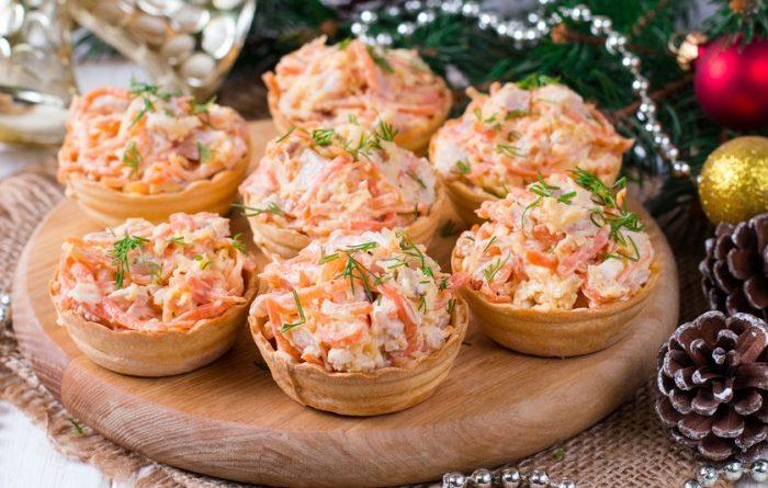 Тарталетки с салатом из мяса криля