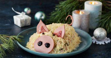 Салат оливье в виде свинки