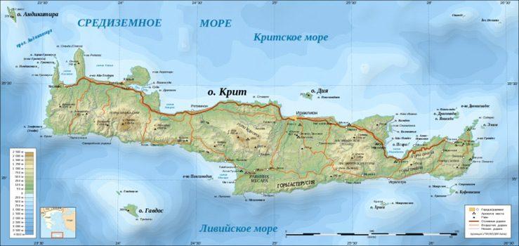 Какое море омывает остров Крит?