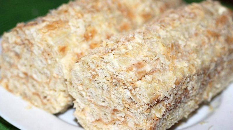 Простой торт «Слоеное полено» со сгущенкой
