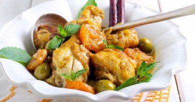 Пряная курица с курагой и оливками