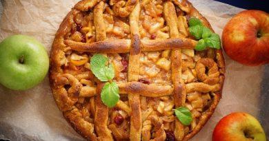 Яблочный пирог с медом и клюквой