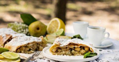 Штрудель с яблоками, орехами и курагой