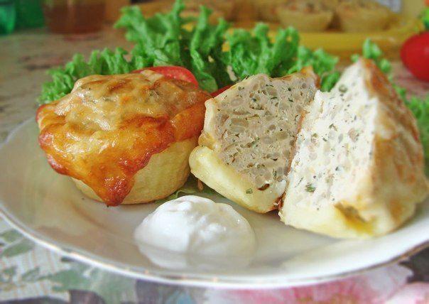 Куриные тефтельки в картофельных корзиночках