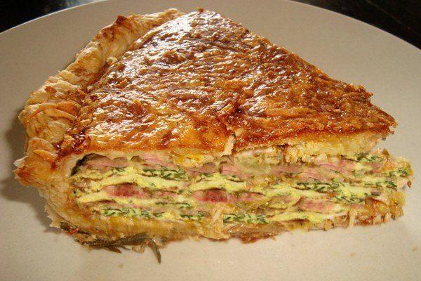 Пирог с ветчиной и яйцами из слоеного теста
