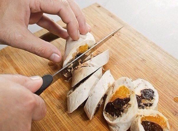 Куриный рулет с мандаринами