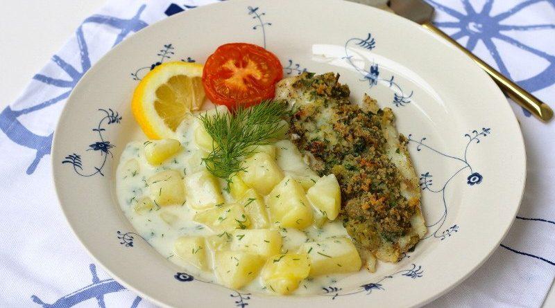 Запеченная рыба с картофелем в сливочном соусе